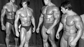 Лу Ферриньо (Lou Ferrigno), Фрэнк Зейн (Frank Zane), Арнольд Шварценеггер (Arnold Schwarzenegger), Франко Коломбо (Franco Columbu)
